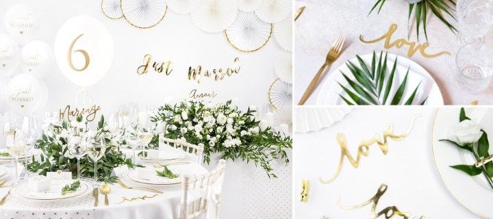 Decoración White and Gold para bodas - Básicos para la mesa 1