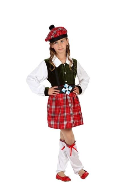 Vista frontal del disfraz de escocés en tallas 3 a 12 años dde08367ded