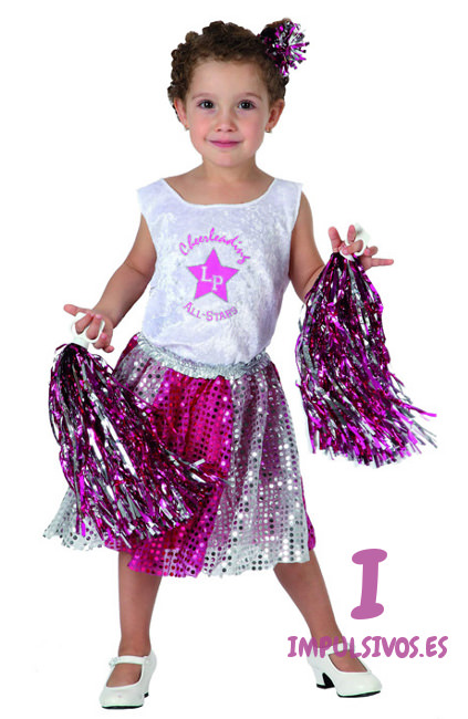 7b33285ac Disfraz de animadora con pompones infantil