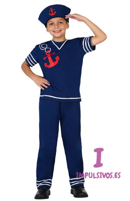 351d94e74 Vista delantera del disfraz de marinero azul en tallas 3 a 12 años