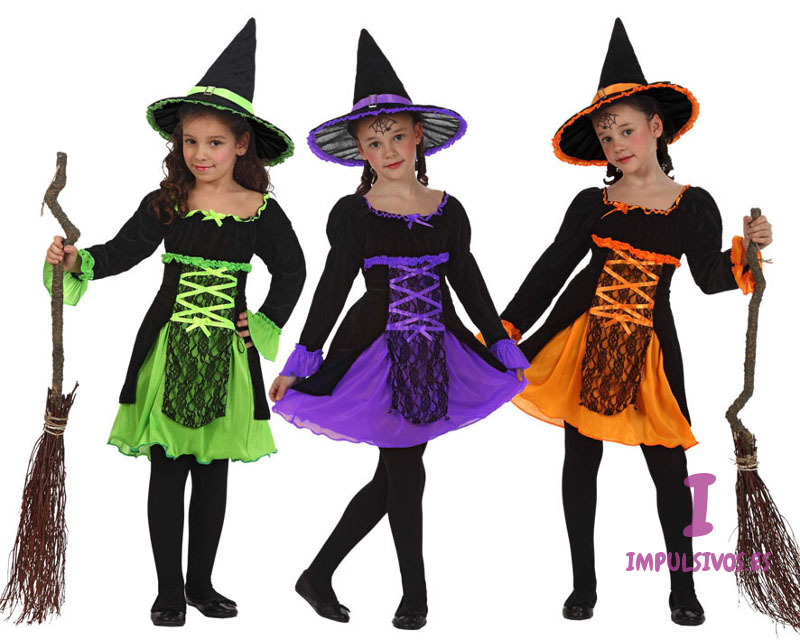 Disfraz de bruja de colores para niña por 22,50 €