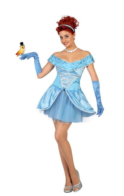 Disfraz de princesa de cuento azul corto para mujer - Halloween hipercor ...