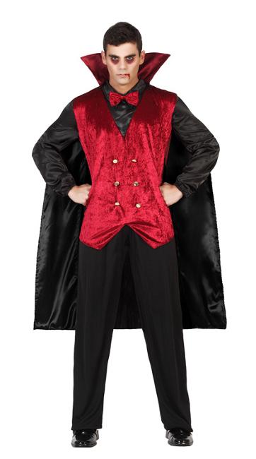 Vista principal del disfraz de vampiro con capa disponible en talla M,L y XL