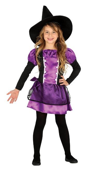 Disfraz De Bruja Lila Para Nina En Tallas 4 A 12 Anos - Disfraz-de-bruja-para-bebe