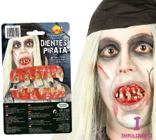 Vista frontal de dientes de pirata fantasma en stock