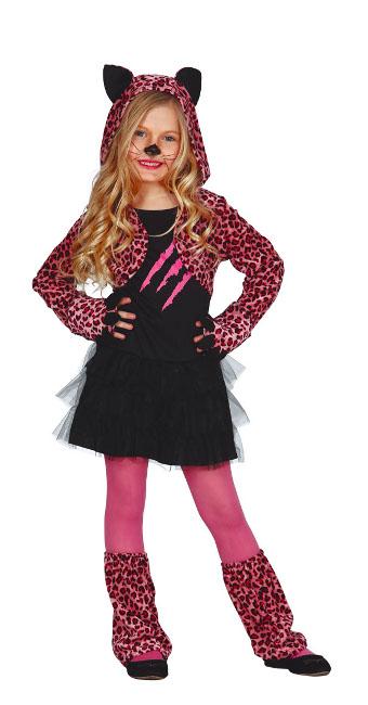 Disfraz de gatita rosa para nia en tallas 3 a 12 aos