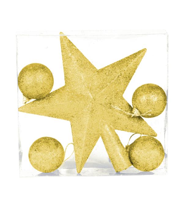 Estrella de navidad con bolas doradas por 2 25 - Bolas de navidad doradas ...