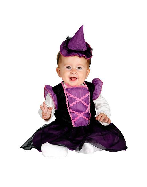 Disfraz De Bruja Lila Para Bebe En Tallas 6 A 24 Meses - Disfraz-de-bruja-para-bebe