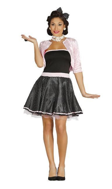 1ea8a0a6e Disfraz años 50 negro y rosa para mujer