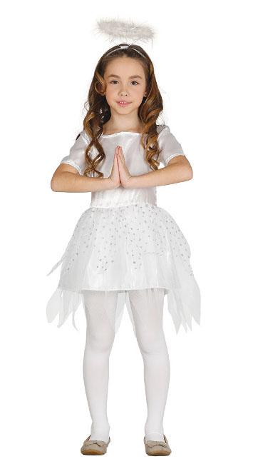 Disfraz de ngel blanco para nia en tallas 3 a 9 aos