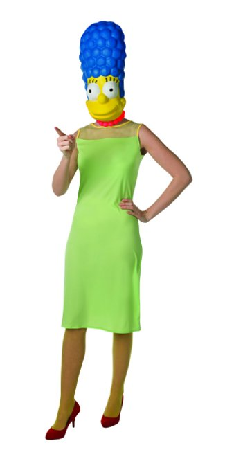 Vista frontal del disfraz de Marge Simpson adulta disponible en talla M y L