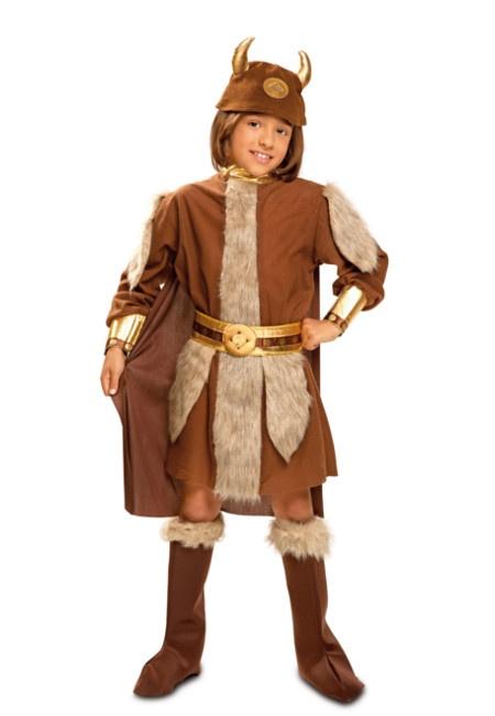 Disfraz de vikingo con capa, casco y cubre botas para mujer