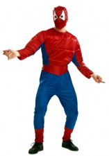 Vista frontal del disfraz de Spiderman musculoso disponible en talla M-L y XL
