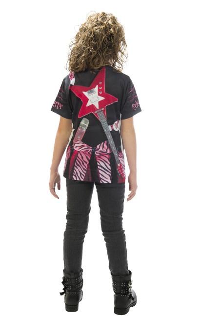 d6767396c Camiseta disfraz de esqueleto rockero rosa infantil