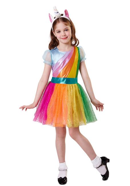 Disfraz de unicornio arcoíris para niña por 21,25