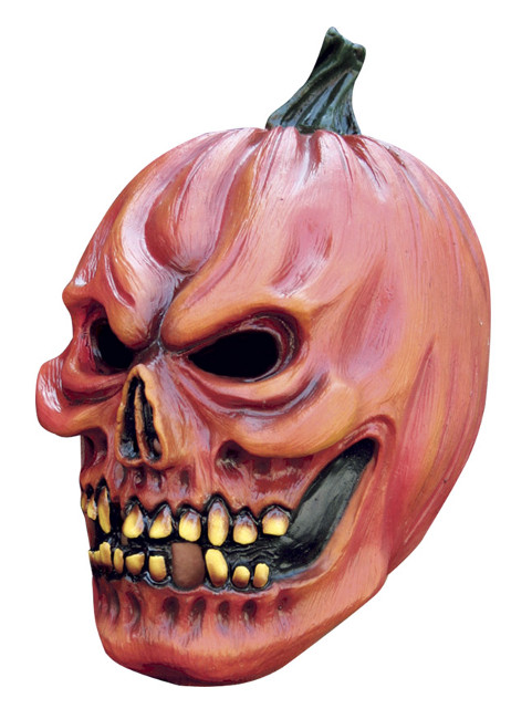 Vista frontal de máscara de calabaza Halloween en stock