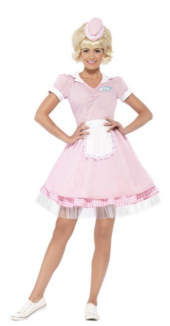 Vista principal del disfraz de camarera rosa años 50 en stock c2424d003c0