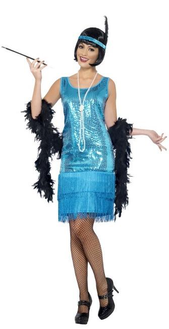 Disfraz De Charleston Azul Con Lentejuelas Para Mujer