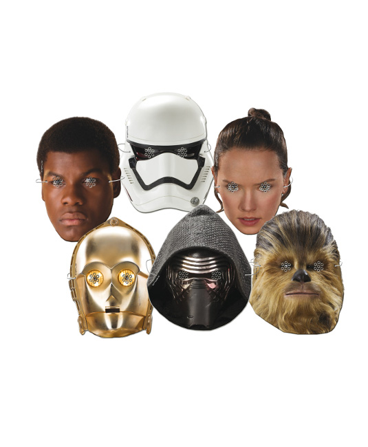 Vista frontal de caretas de Star Wars - 6 unidades en stock