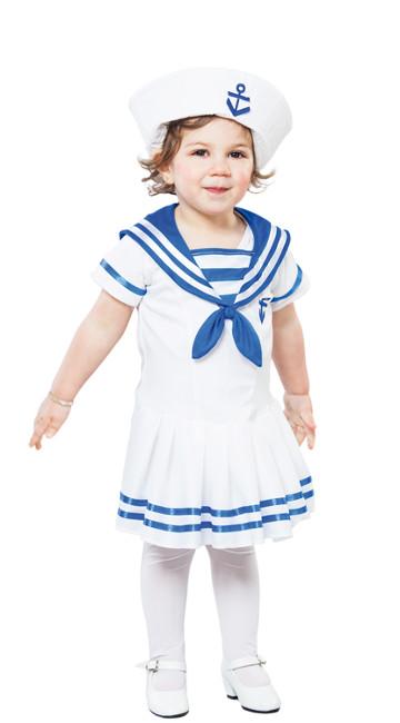 7243ff7c2 Vista frontal del disfraz de marinero blanco y azul