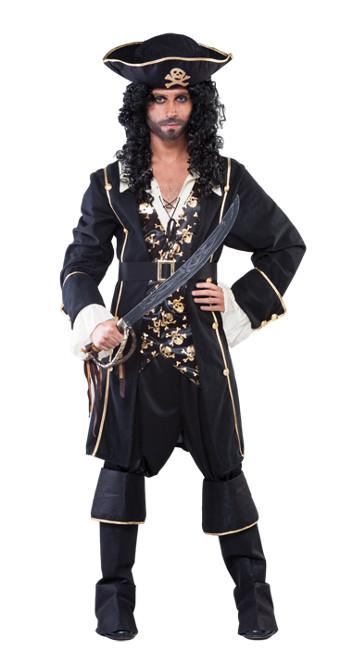 2ad2c6c8f0d34 Vista principal del disfraz de pirata negro y dorado en talla M-L