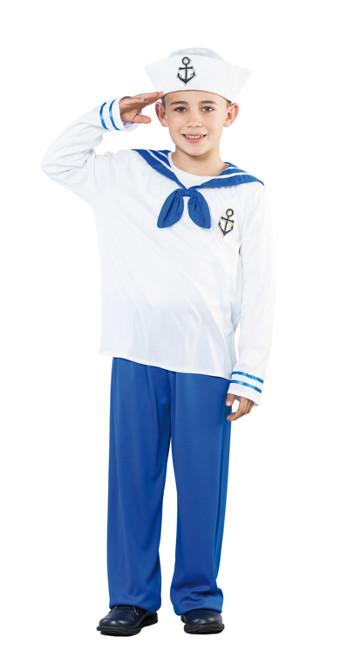 cda9cb3d4 Vista principal del disfraz de marinero blanco y azul en tallas 4 a 12 años