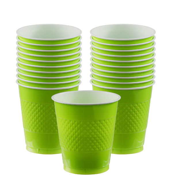 Vista frontal de vasos verdes 355 ml - 10 unidades en stock