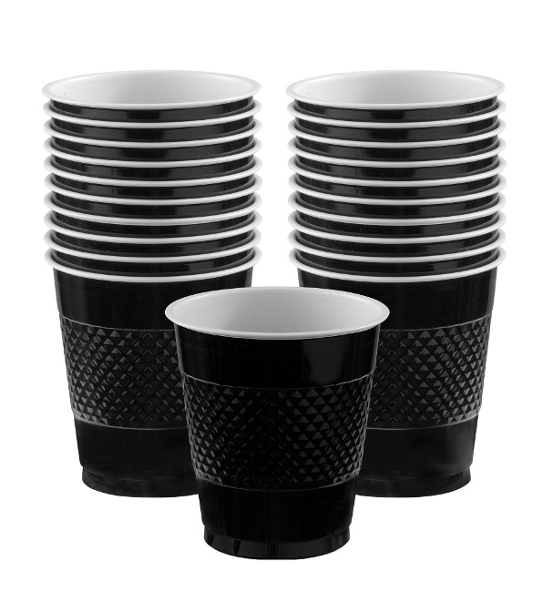 Vista frontal de vasos negros 355 ml - 10 unidades en stock