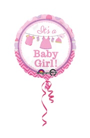 Vista frontal del globo redondo de Pink Baby Party en stock