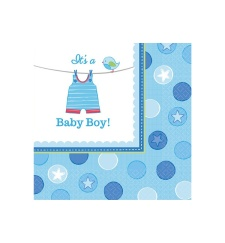 Servilletas de Blue Baby Party 33x33 - 16 unidades