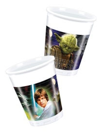 Vista frontal del vasos de Star Wars Yoda de 200 ml - 8 unidades en stock