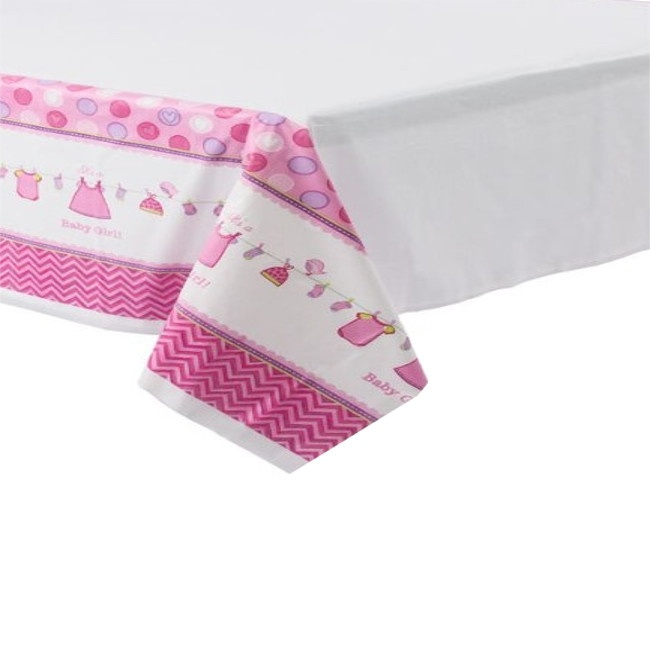 Vista frontal de mantel de Pink Baby Party en stock
