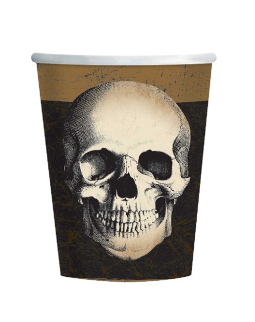 Vista delantera del vasos de Fiesta Skull and Crow de 266 ml - 8 unidades en stock