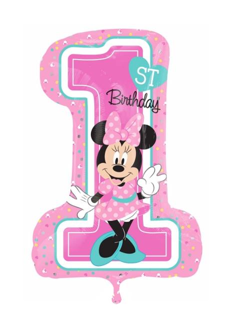 Globo Numero 1 Feliz Cumpleanos De Minnie Mouse 48 X 71 Cm