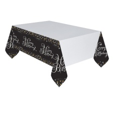 Mantel de Burbujas de Champagne Happy Birthday - 1,37 x 2,59 m
