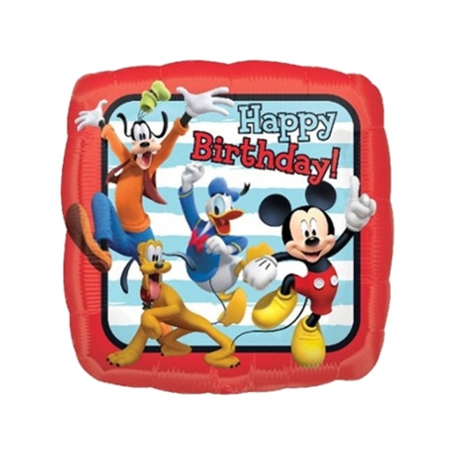 Vista delantera del globo cuadrado de Mickey Mouse Happy Birthday - 43 cm en stock