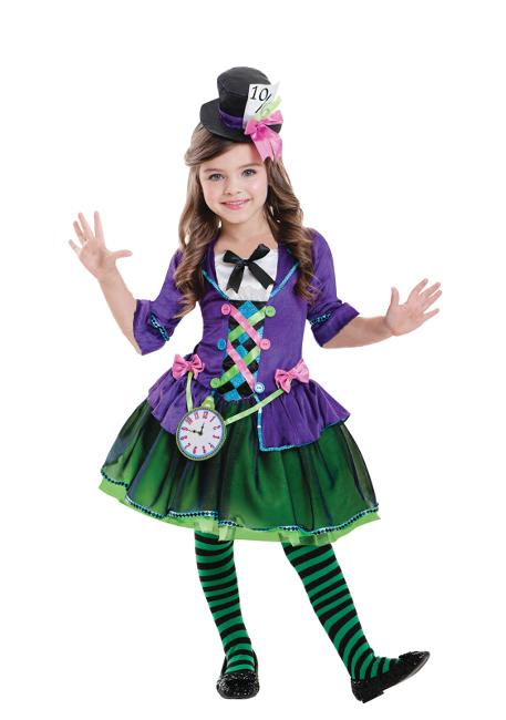 cc6272880a9c9 Vista principal del disfraz de sombrerero loco de Alicia en tallas 5 a 12  años