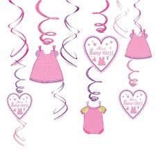 Colgantes decorativos de Pink Baby Party - 12 unidades