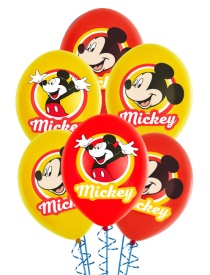 Globos de látex de Mickey Mouse a color - 6 unidades