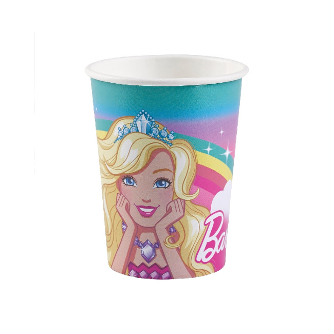 Vista frontal del vasos de Barbie de 250 ml - 8 unidades