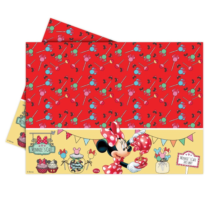 Vista frontal de mantel de Minnie Mouse en stock