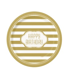 Platos Happy Birthday Golden 22 cm - 8 unidades