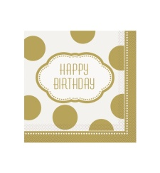 Servilletas Happy Birthday Golden 33x33 - 16 unidades
