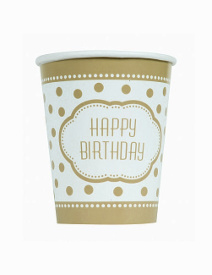 Vasos Happy Birthday Golden - 8 unidades