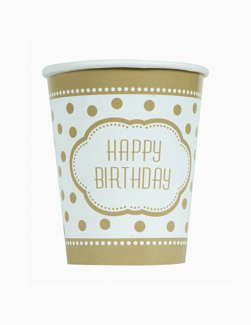 Vista frontal de vasos Happy Birthday Golden - 8 unidades en stock