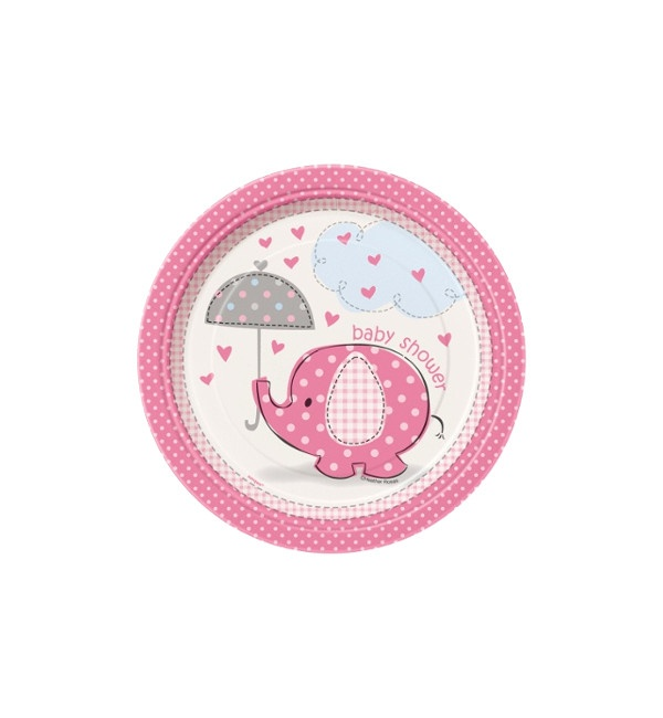 Vista frontal del platos Pink Elephant Party de 17 cm - 8 unidades en stock
