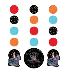Colgantes decorativos de Black Birthday - 3 unidades