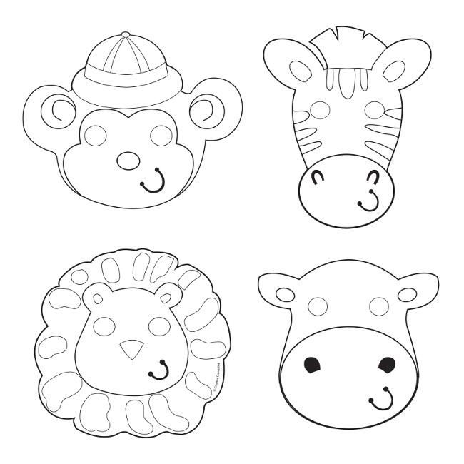 Caretas de Aventura Safari para colorear - 12 unidades