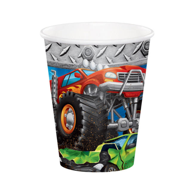 Vista principal del vasos de monster trucks de 266 ml - 8 unidades