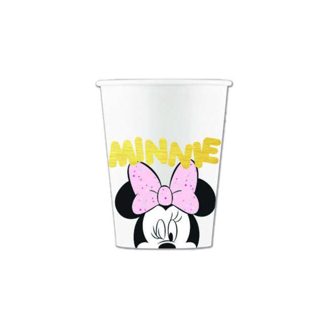 Vista delantera del vasos de Minnie Diamantes de 200 ml - 8 unidades